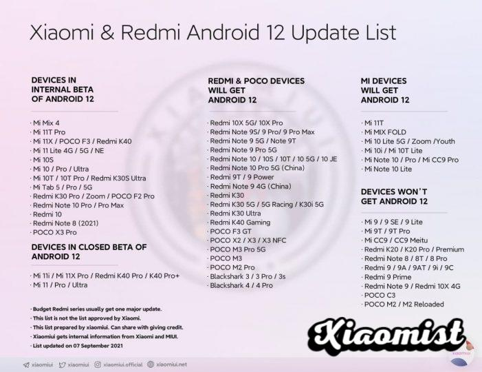 A new list shows us all those Xiaomi that will receive Android 12. News Xiaomi