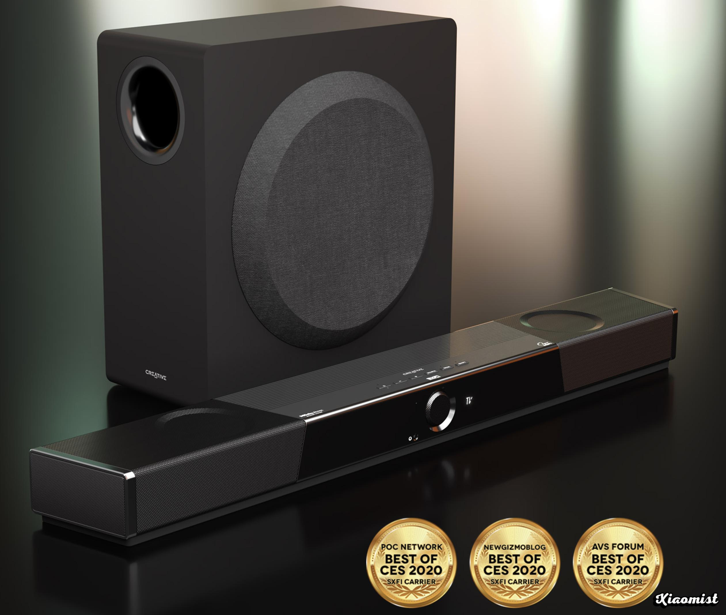 Soundbar with Dolby Atmos speaker system, wireless subwoofer and Super X-Fi Headphone Holography