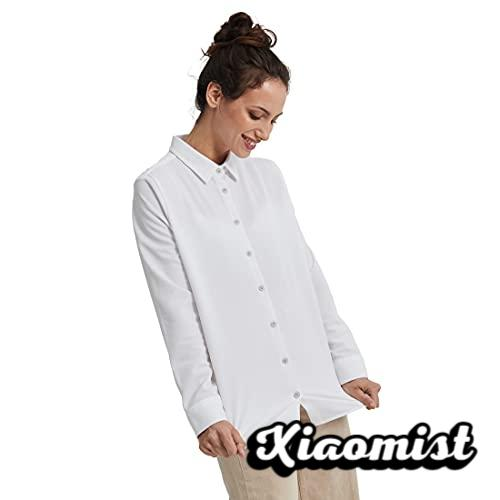 Sepiia Anti-Stain Anti-Wrinkle Breathable Odorless No Brand Sweat Slim Fit Long Sleeve Shirt for Women (White)
