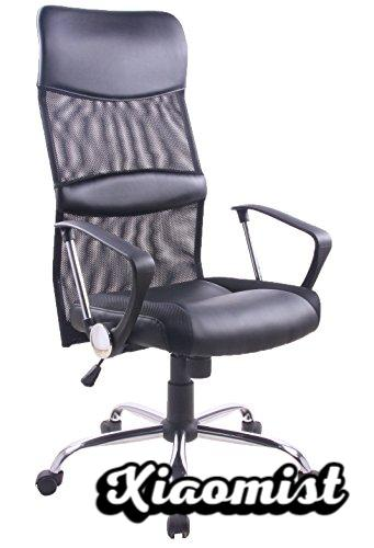 Yale Swivel chair for study, office or desk with wheels, ideal for teleworking. Swivel office chair with chrome gas tilting mechanism and black fabric