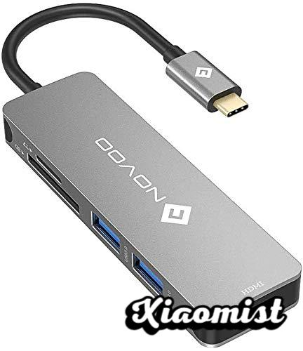 NOVOO USB C Hub with 2xUSB 3.0, HDMI, SD / TF Card Reader USB Type C Type C Hub for Macbook A1534, Google ChromeBook Pixel C1501W and Other Type-C Computers and Tablets
